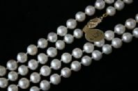 Long 6mm Round White Freshwater Pearl Necklace with 9ct Gold clasp